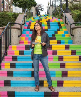 Liz Squillace on the Golden Hill Steps, photo: Daniel Recinos